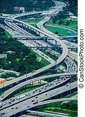 A high view of Houston highways - Interstate 10 - Interstate...