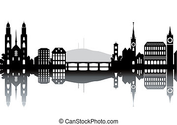Zurich skyline - black and white vector illustration