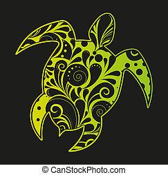 African motives floral turtle background