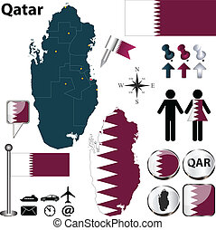 Map of Qatar - Vector of Qatar set with detailed country...