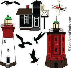 Set of lighthouses - Vector set of lighthouses on white...