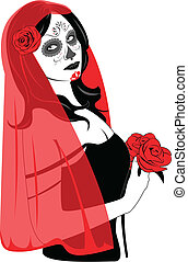 Sugar Skull Lady - Vector of Sugar Skull Lady with face...
