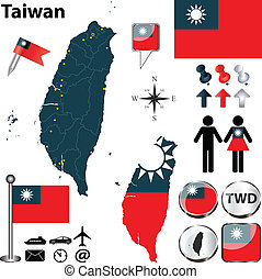 Map of Taiwan - Vector of Taiwan set with detailed country...