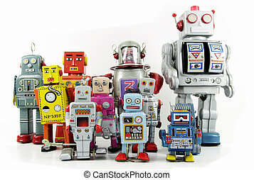 robot - retro robot toy group