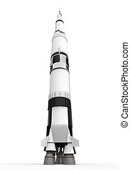 Space Rocket Saturn isolated on white background. 3D render