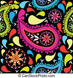 paisley pattern, abstract seamless texture; vector art...