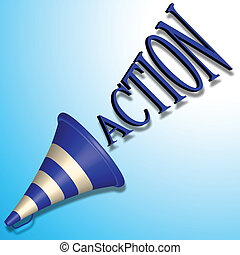 action command - blue bullhorn icon and action command...
