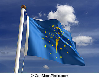 Indiana Flag - Indiana flag (with clipping path)