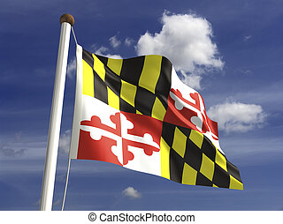 Maryland Flag - Maryland flag with clipping path