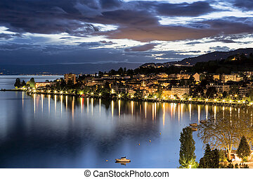 Night view of buildings from Montreux - View onto...