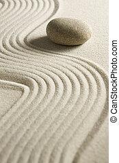 Zen stone - Stone on raked sand