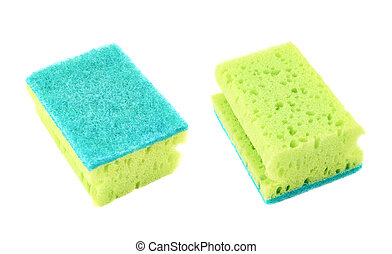 Kitchen sponge front and back view - Kitchen green sponge...