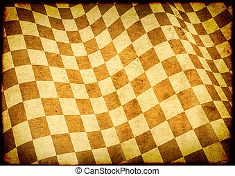 Checkered flag on paper texture