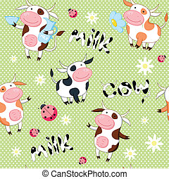 Vector seamless background with cute cows and ladybirds