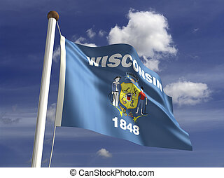 Wisconsin Flag - Wisconsin flag (with clipping path)