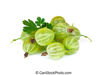 Gooseberries with leaves isolated on white background
