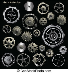 Gear collection machine collection of vector cogwheel and...