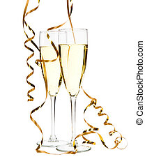 Glasses of champagne with gold ribbon entwined
