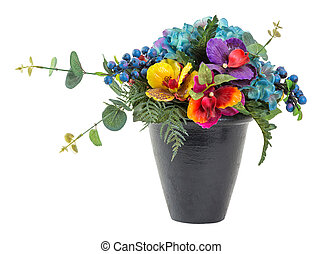 Bouquet of blue hydrangea and vanda in black clay pot -...