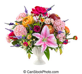 Flower bouquet in ceramic vase - Bouquet of colorful lily...