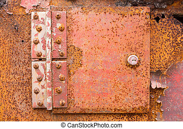 rusted iron hinge - Close up red color rusted iron hinge