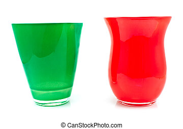 Red and green glass vase isolated on white