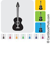 simple acoustic guitar symbolicon-minimalistic vector...