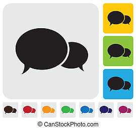 Two speech bubbleschat icons- minimalistic vector graphic...
