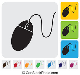 wired mouse iconsymbol for PC or computer- simple vector...