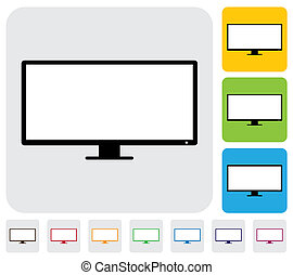LCD or LED flat TVtelevision screen- simple vector graphic...