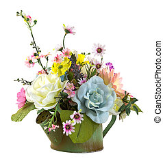 Bouquet of flowers in green watering pot  isolated on white