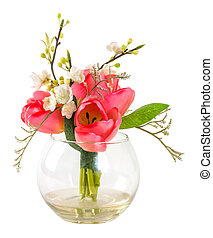 Bouquet of pink tulip in glass vase