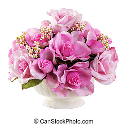 Bouquet of roses - Bouquet of pink color roses in ceramic...