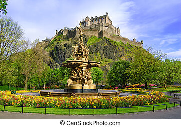 Ross fountain landmark in Edinburgh, Scotland - Ross...