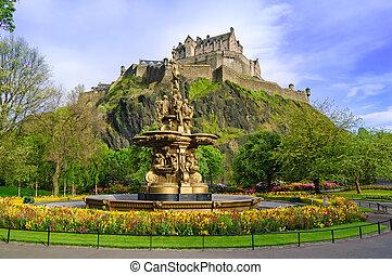 Ross fountain landmark in Edinburgh, Scotland - Ross...