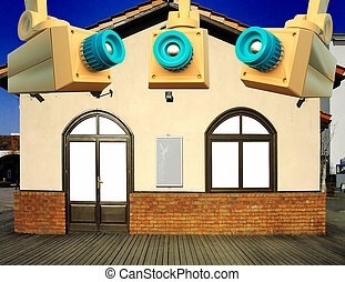 Well secured house - humorous illustration