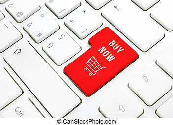 Shop buy now business concept. Red shopping cart button or...
