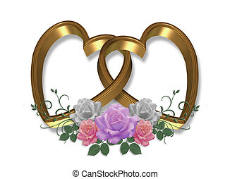 Gold Hearts and Roses Valentine
