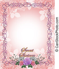 Sweet 16 Birthday invitation Roses - Image and illustration...