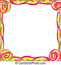 Abstract frame - frame with color curl, isolated on white...