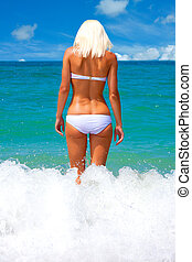 日光浴をする, 女, 浜