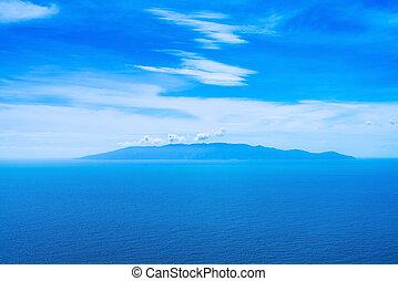 Giglio island aerial view from Argentario. Mediterranean...