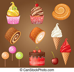Sweet pastry set vector, gradient, Eps10