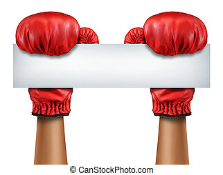 Boxing Gloves Blank Sign - Boxing gloves blank sign as a...