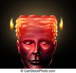 Burning Out - Burning out business concept with a human head...