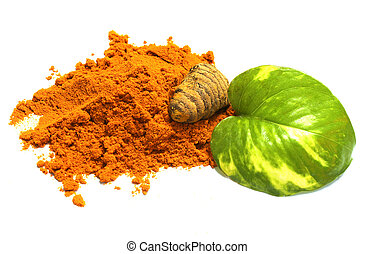 turmeric powder & leave - turmeric powder in white...