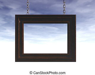 frame - picture frame and cloudy background - 3d...