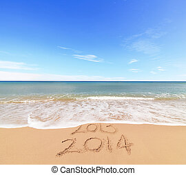 New Year 2014 is coming concept - inscription 203 and 2014...