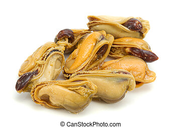 mussel - The cleared and pickled mussels on a white...