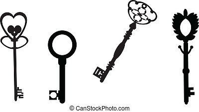 Antigue keys - Original antique keys collection, vector...